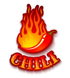 Chili pepper in fire. Vector illustration of a chili pepper in fire Stock Image
