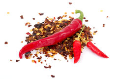 Chili pepper on flakes Royalty Free Stock Photos