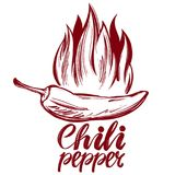 Chili pepper and flame abstract symbol, sign, vegetable hand drawn vector illustration sketch Royalty Free Stock Photos