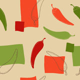 Chili pepper graphic art color seamless pattern illustration Stock Image