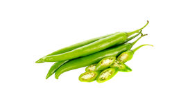 Chili pepper green  isolated on a white background Royalty Free Stock Image