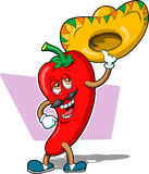 Chili Pepper Guy. This is an image of a chili pepper character with a sombrero Royalty Free Stock Images