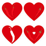 Chili pepper heart. Passion and Love symbol. Vector set, isolate. Heart and pepper. Elements for design,  illustration. Love background Stock Photography