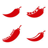 Chili pepper. Icon set Chili pepper isolated on white background. Vector illustration Royalty Free Stock Photography