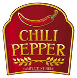 Chili pepper label Stock Photography