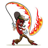 Chili pepper with a lash of fire. Humorous illustration of red hot chili pepper in cowboy clothes with a  lash of fire Royalty Free Stock Images