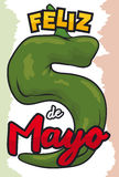 Chili Pepper Like Number Five pour le Mexicain Cinco de Mayo, illustration de vecteur Photo libre de droits