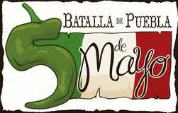 Chili Pepper Like Number Five voor Mexicaans Cinco de Mayo, Vectorillustratie Stock Foto
