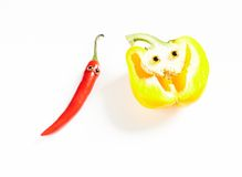 Chili pepper man and yellow bell pepper smile Royalty Free Stock Photos