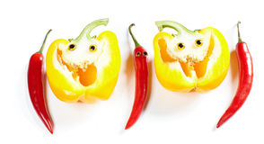 Chili pepper man and yellow bell pepper smile Stock Image