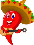 Chili pepper mariachi cartoon wearing sombrero Stock Image