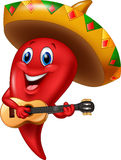 Chili pepper mariachi wearing sombrero playing a guitar. Illustration of Chili pepper mariachi wearing sombrero playing a guitar vector illustration