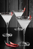 Chili Pepper Martini noir et blanc Photos stock