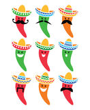 Chili pepper in Mexican Sombrero hat with mustache icons Stock Photo