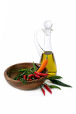 Chili pepper and olive oil Royalty Free Stock Image