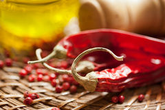 chili pepper and olive oil Royalty Free Stock Photos