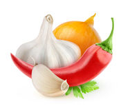 Chili pepper, onion and garlic. (tabasco souce ingredients) isolated on white Royalty Free Stock Photo