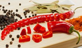 Chili pepper and other spices. Several types of vegetables and spices used for cooking Stock Photo