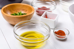 Chili Pepper, Paprika, Parsley, Olive Oil and Ketchup Food Ingredients Stock Photo