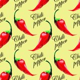 Chili pepper pattern on grunge background. Royalty Free Stock Photography