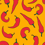 Chili pepper pattern. Vector seamless pattern with red chili peppers on yellow background Stock Photography