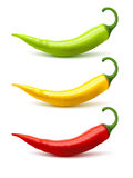 Chili Pepper Pods Set Realistic Shadow Stock Photos