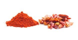 Chili pepper and powdered pepper. stock photo