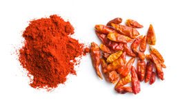 Chili pepper and powdered pepper. stock photography