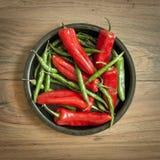 Chili Pepper Selection fresco Imagen de archivo libre de regalías