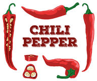 Chili pepper set.Hand drawn chili. Royalty Free Stock Photo