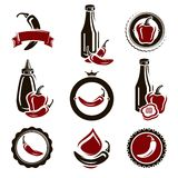 Chili and pepper set. Vector. Illustration Stock Photo