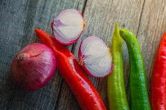 Chili pepper with shallot herb ingredient of Thai food. Stock Photo