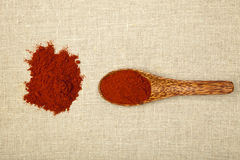 Chili pepper spice. Red chili spice on bamboo spoon on brown background, top view royalty free stock photo