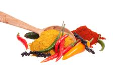 Chili pepper and spices Royalty Free Stock Photography
