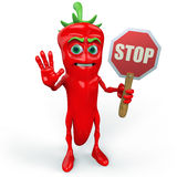 Chili pepper with stop sign Stock Photos
