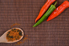 Chili pepper the table wih some spice on wooden spoon royalty free stock image