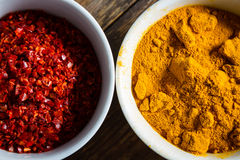 Chili pepper and turmeric Royalty Free Stock Image