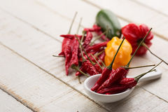 Chili pepper on white table Stock Images