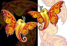 Chili pepper with wings of a butterfly. Hot peppers are torn in flight, thoughtlessly soar in air, on border of light and darkness royalty free illustration