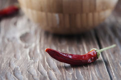 Chili pepper on the wooden table Stock Image