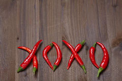 Chili pepper xoxo Royalty Free Stock Photos