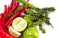 Chili peppercone and lime food ingredient Stock Photos