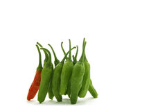 Chili peppers. Green and red chili peppers isolated on white background Stock Photos