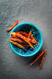 Chili Peppers in Authentic Ceramic Bowl Stock Image