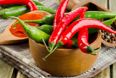 Chili Peppers in bowl on wooden background Royalty Free Stock Photography