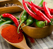 Chili Peppers in bowl on wooden table Stock Images