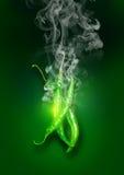 Chili Peppers caliente estupendo verde que brilla intensamente Fotografía de archivo libre de regalías
