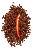 Chili peppers and coffee Stock Photos
