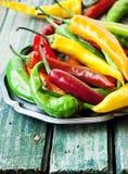 Chili Peppers färgrika kryddiga peppar Royaltyfria Foton