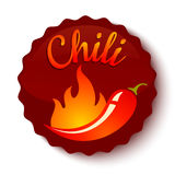 Chili peppers in fire. Vector banner of a hot jalapeno or chili peppers in fire. Spicy foods Royalty Free Stock Photo